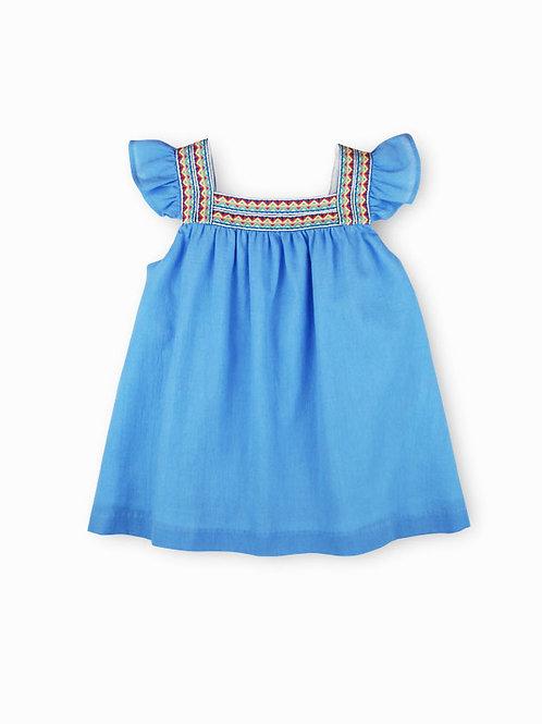 Vestido azul estilo étnico SARDON