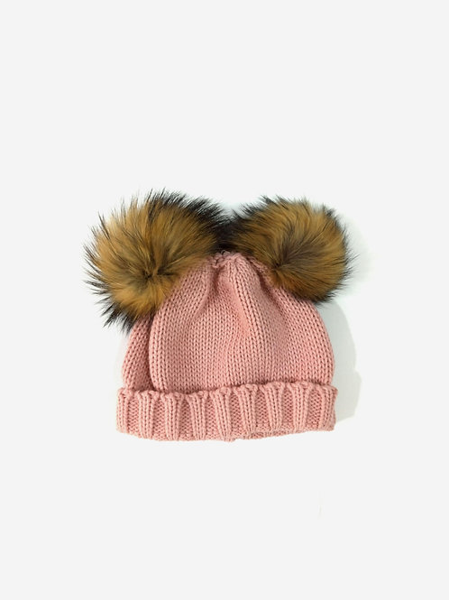 Gorro lana pompones de pelo rosa SARDON