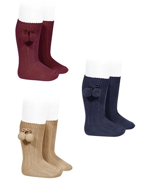 Calcetines altos de algodón con borlas CÓNDOR
