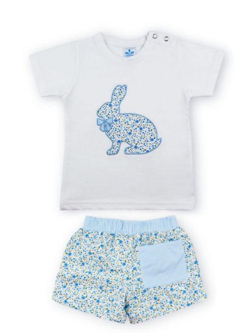Conjunto camiseta y bañador tela Colección florecillas