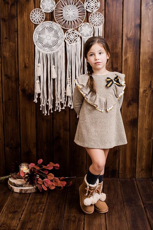 Vestido infantil familia Mostaza FOQUE