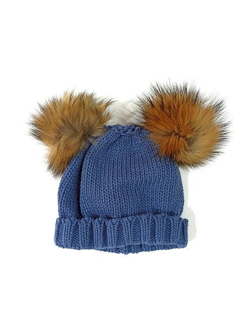 Gorro lana pompones de pelo azul SARDON