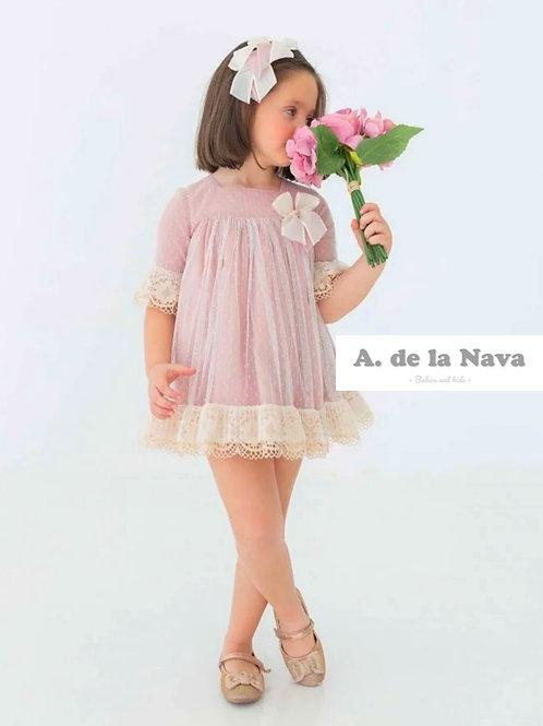 Vestido Rosa Colección Tul y Bordados