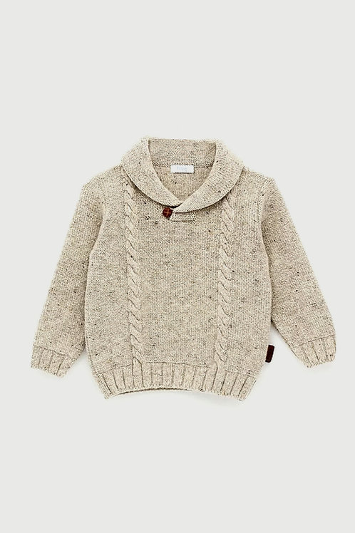 Jersey lana rústica cuello smocking FOQUE
