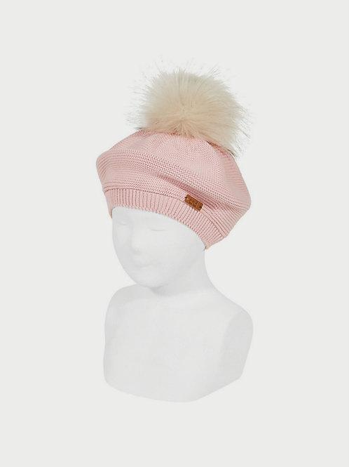 Boina algodón con borla de pelo rosa palo CÓNDOR