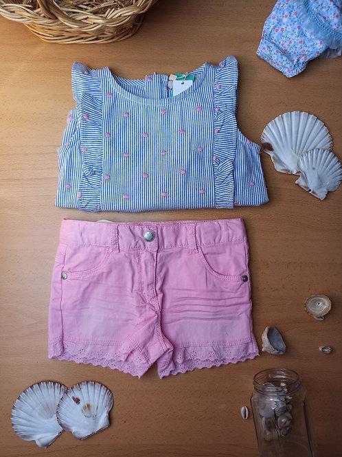 Conjunto  blusa y short rosita