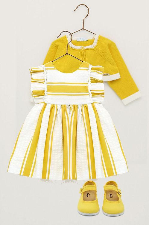 Vestido niña rayas amarillo FOQUE