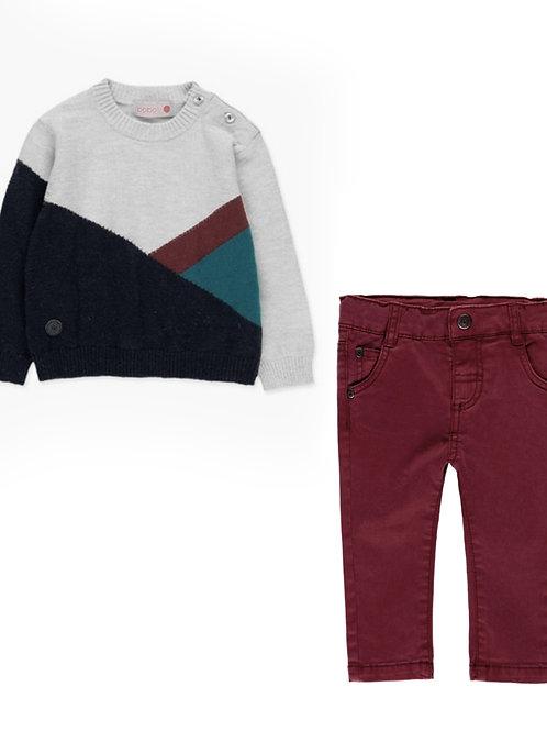 Conjunto Jersey+Pantalón guinda BOBOLI