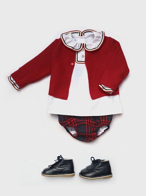 Rebeca bebé de punto rojo familia Escocesa FOQUE