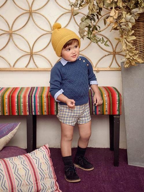 Jersey azul de niño familia Arlequín MARTA Y PAULA
