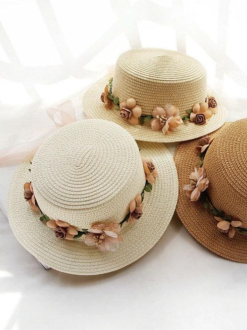 Sombrero paja con corona floral