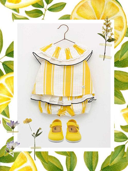 Conjunto niña rayas amarillo FOQUE