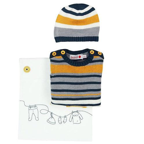 Pack tricotosa Pelele y Gorro mostaza BOBOLI