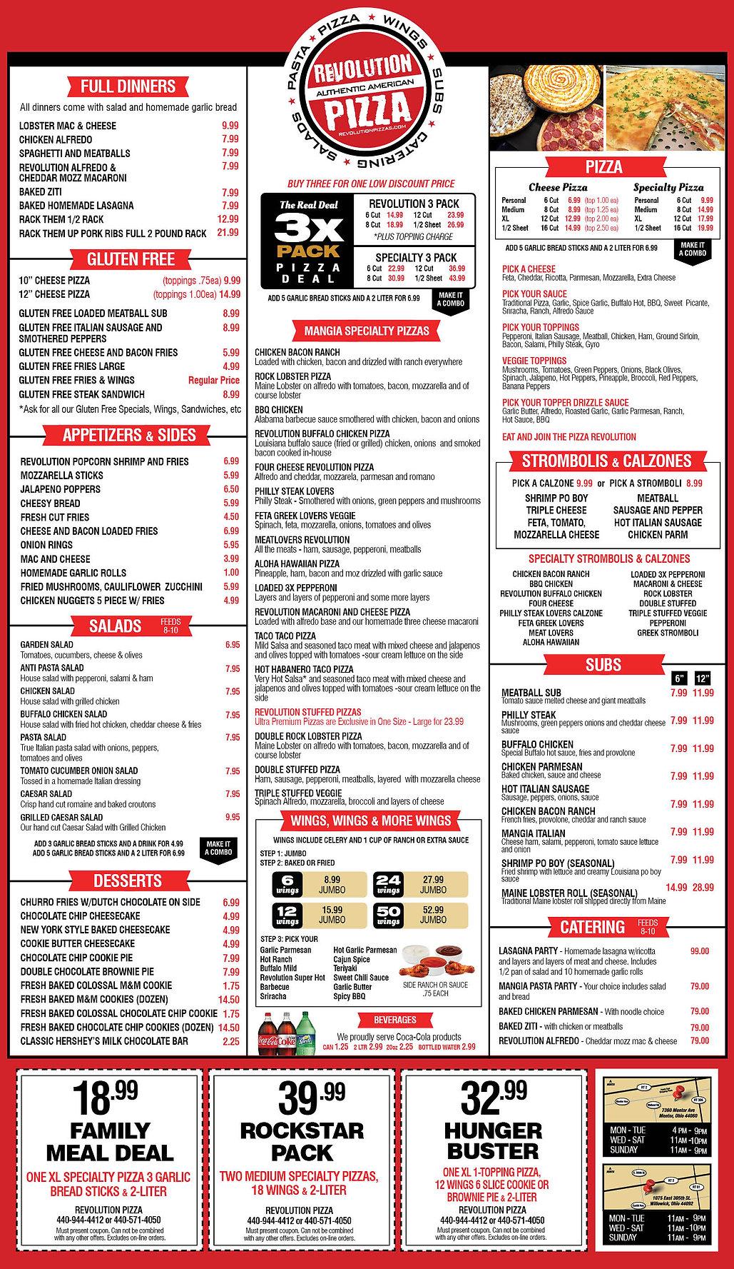 Mentor Ohio Pizza- Pizza near me mentor ohio Revolution menu