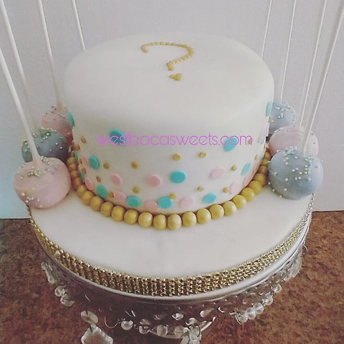 Gender Reveal Cake with Cake Pops