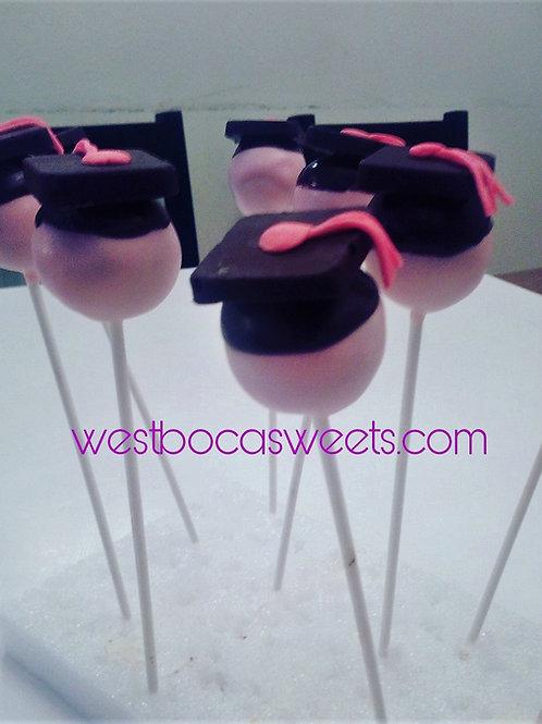 Pink Graduation Cake Pops - 12