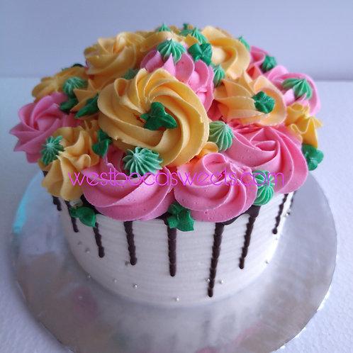 Drip Chocolate Rosette Cake