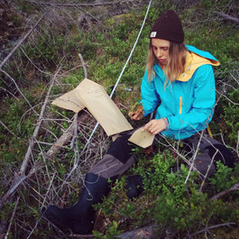 Irena collecting moss (H. splendens) at