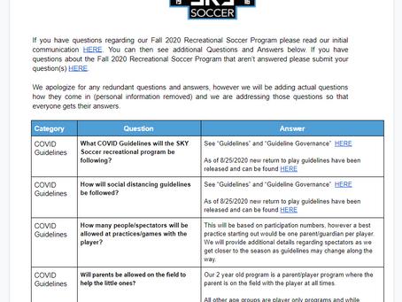 Fall 2020 Rec Programs FAQ