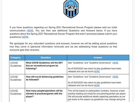 Spring 2021 Rec Programs FAQ