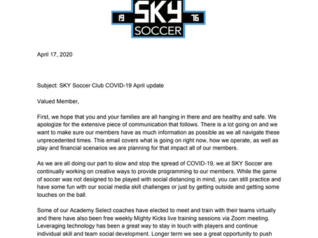 April COVID Update...how things work SKY Soccer Club