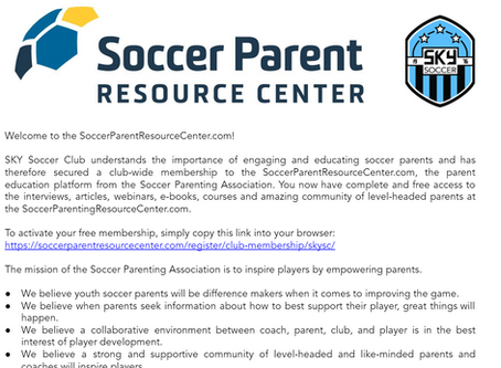 SKY Soccer Club Announces Club-Wide Membership to Soccer Parent Resource Center