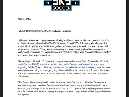 Registration Software Upgrade - Transition to Demosphere