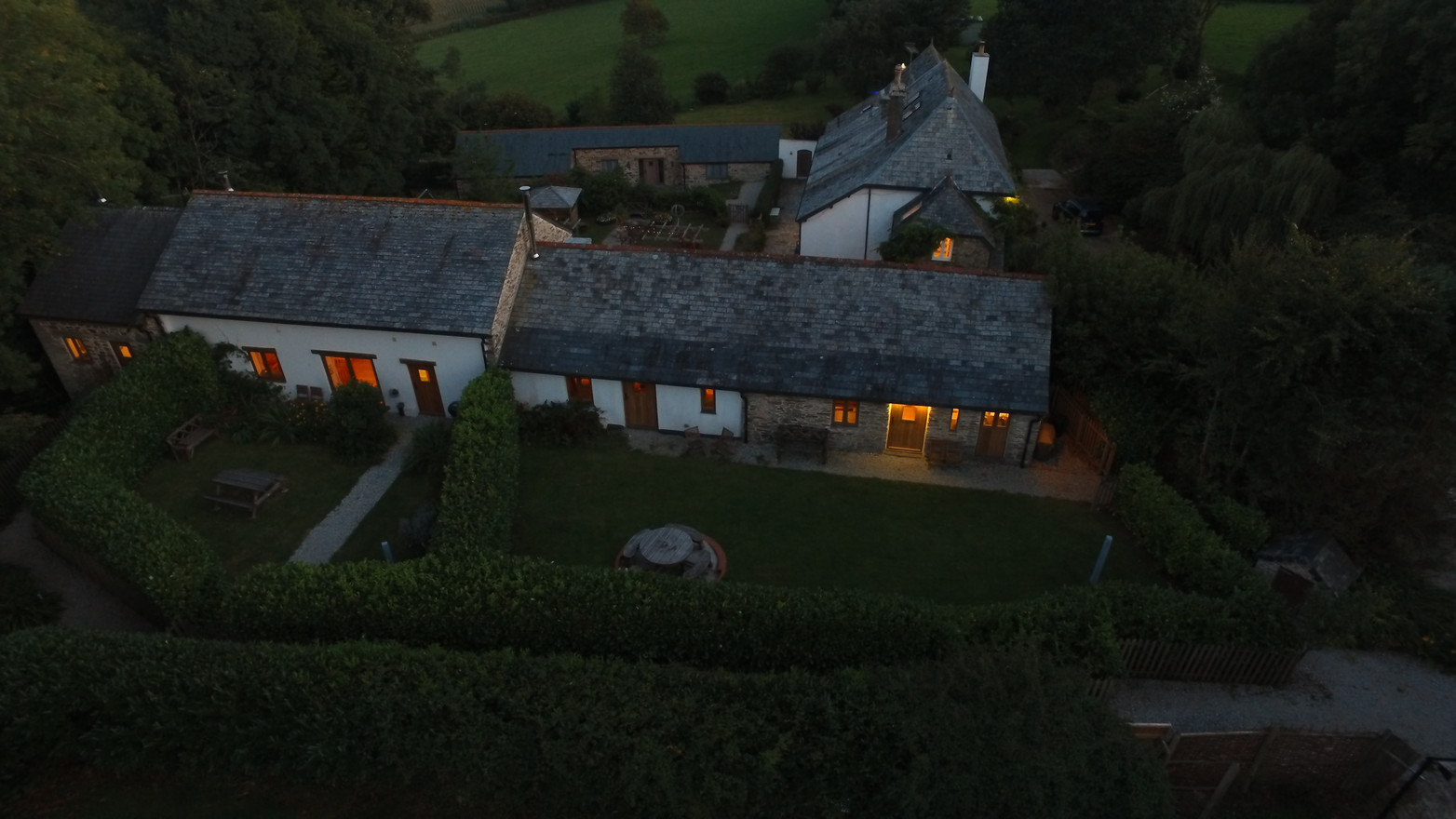 Cosy Cottages at dusk.
