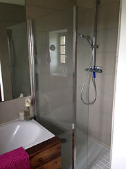 walk in shower and bath in new bathroom