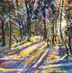 Pastel Landcape Paintingof sunlight through trees in the snow.