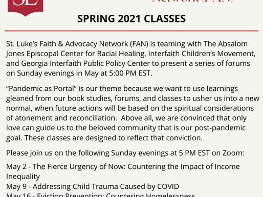 St. Luke's Faith & Advocacy Network (FAN) Spring Classes