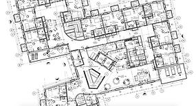 Plan for placering af møbler og gardiner i plejecenter