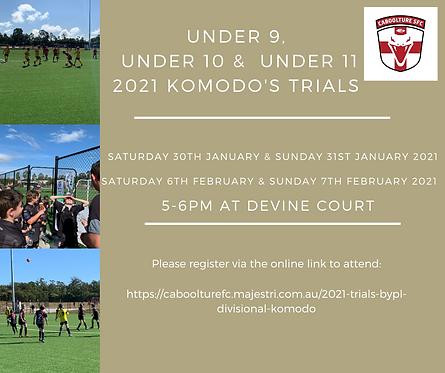 Under 9, Under 10 & under 11 2021 komodo