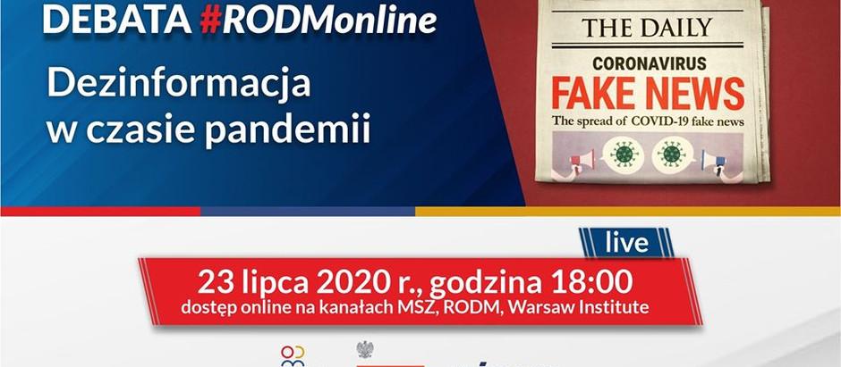 Debata #RODMonline: Dezinformacja w czasie pandemii