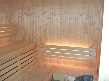 Sauna with Behind Backrest Strip LED Lighting