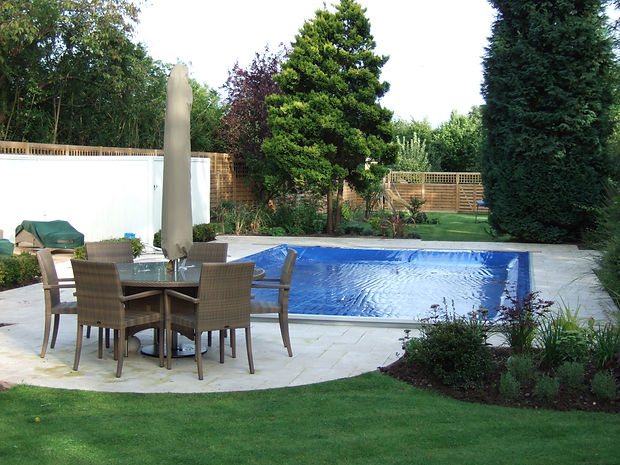 Outdoor Pool with Automatic Lockable Pool Safety Cover