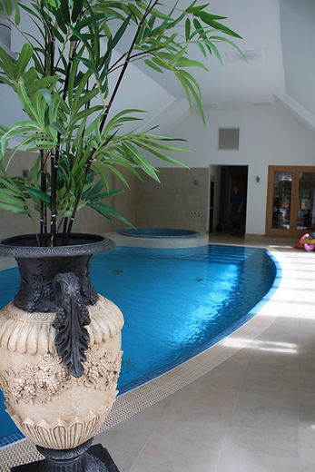 Indoor Deck Level Swimming Pool and Freeboard Mosaic Tiled Spa