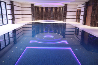 Award Winning Deck Level Pool with Stone Overflow System