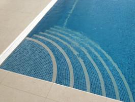 Mosaic Tiled Pool Steps