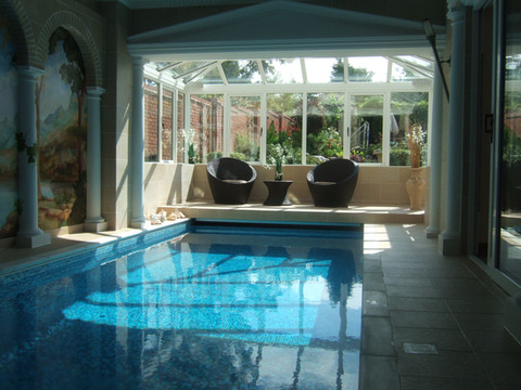Indoor Pool with Cascading Edge