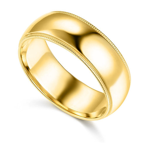 14k Yellow Gold 7-mm Standard-fit Milgrain and polished Wedding Band