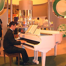 Pianist at the NEC for opal telecom