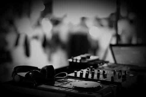 DJ decks black and white photo