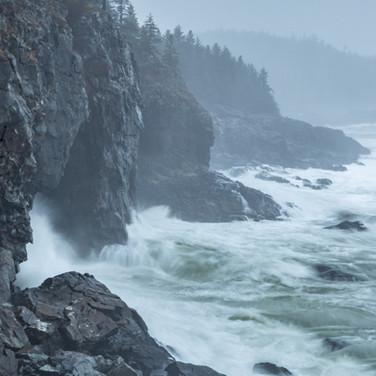 Big cliffs and surf.