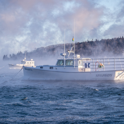 Bar Harbor Boats in Sea Smoke.