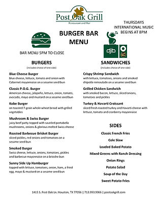 Post Oak Grill Burger Bar Menu