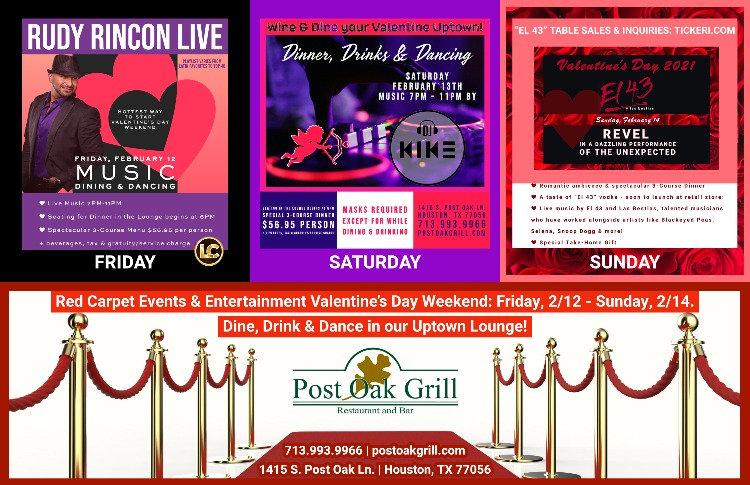 Post Oak Grill Valentine's Day Weekend -