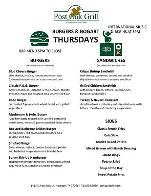 Thursday Menu for Burgers & Bogart