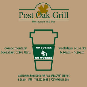 Complimentary Breakfast at Post Oak Gril