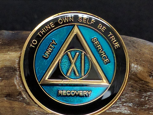 Black & Blue Sobriety Medallion